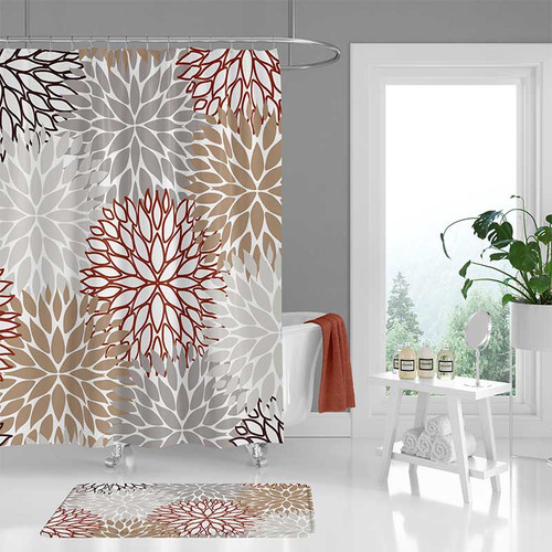 Floral Shower Curtain And Bathroom Mat In Gray Beige And Red