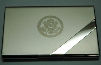 Reflective Nickel Business Card Case Accented with Satin Silver Finish and Laser Engraved DOS Logo
