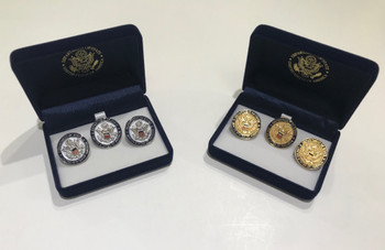 2-D Raised DOS Logo Cufflinks & Lapel Pin/Tie Tac in Gold or Silver Finished
