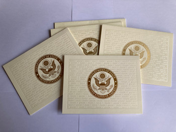 Pack of 5 with envelopes/Gold DOS logo