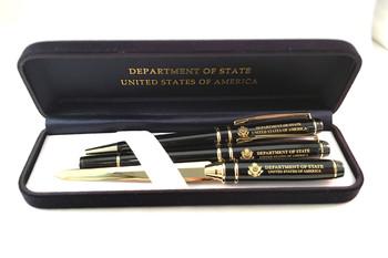 3-Piece Pen Set - DOS Logo Engraved in Premium Navy Leatherette Box