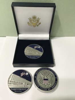 DOS Challenge Coin/ Harry S Truman Building - silver finished in Presentation Box