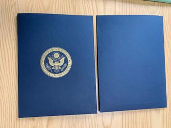 Navy Presentation Folder/DOS Logo Gold Embossed