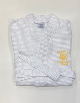White House Guest Waffle Weave Kimono Robe/ Gold Embroidery