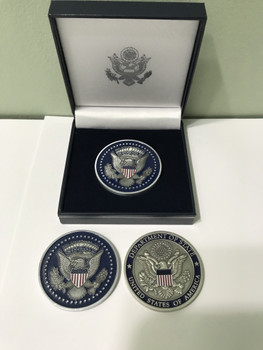 DOS/Presidential Seal Challenge Coin - silver finished/Presentation Box