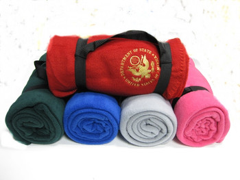 Fleece Blanket with Strap/DOS Embroidered