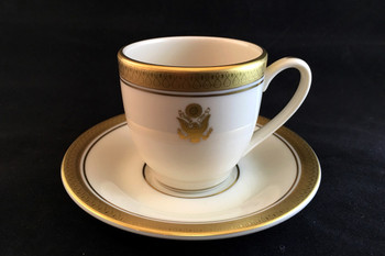 """Embassy Demi Cup 4 oz. Gold Embossed  Embassy Demi Saucer 4 1/2"""""""