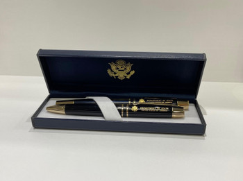 Set of 2 Executive DOS Black Lacquer Finish/Gold Accents Ballpoint Pen & Rollerball Pen with Navy Leatherette Box