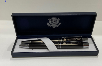 Set of 2 Executive DOS Gunmetal Finish Pen/Silver Accents with Navy Leatherette Box
