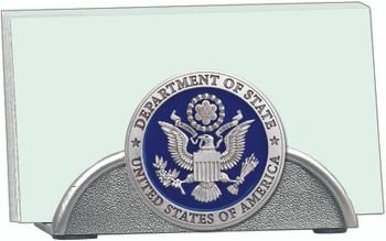 Pewter business card holder - DOS Logo raised emblem