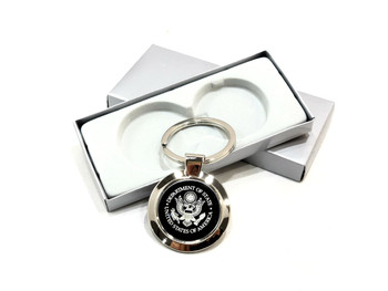 Round Key Holder Silver - Black/DOS Logo Engraved