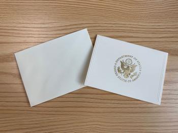 5 Embossed Bevel Frame - Gold DOS Note Cards with 5 Envelopes