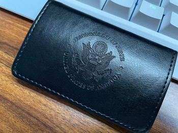 DOS Logo Embossed - Premium Leather Business Card Case with Magnetic Shut
