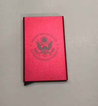 Red RFID Block Business Card Case-DOS Logo Engraved