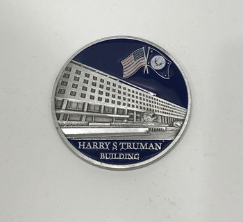 DOS/Harry S Truman Building Challenge Coin in Acrylic case