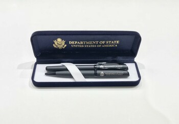 Set of 2 Matte Black Ballpoint pen & Rollerball pen/DOS logo engraved  in Presentation Box