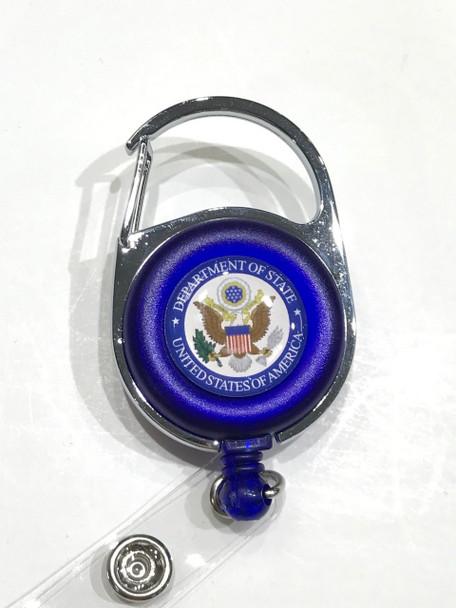 Retractable Carabiner Badge Reel/DOS Logo