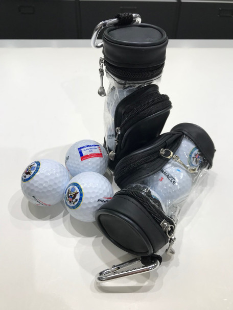 3 Golf Balls with 6Tees in Mini Bag  - DOS Logo