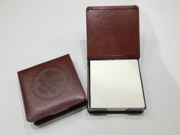 Square Brown Leather Memo Box with Notepaper/ DOS Embossed logo