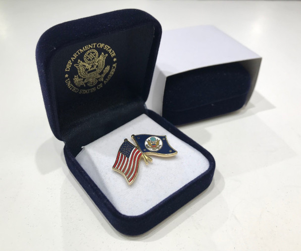 DOS/USA Flags Lapel Pin with Presentation Box