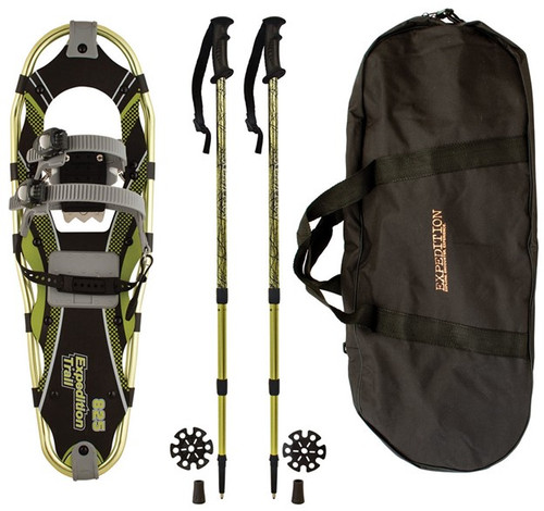 All kits come with a bag, poles and the snowshoes themselves.