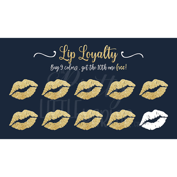 Lip Loyalty Cards - Navy, White & Gold