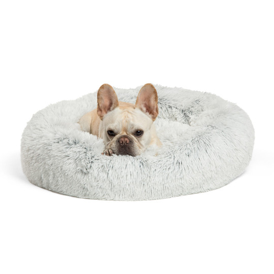 Donut Shag Cat and Dog Bed, Frost, 23X23