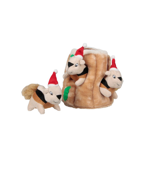 Holiday Hide A Squirrel Plush Dog Toy Puzzle, Brown, Medium