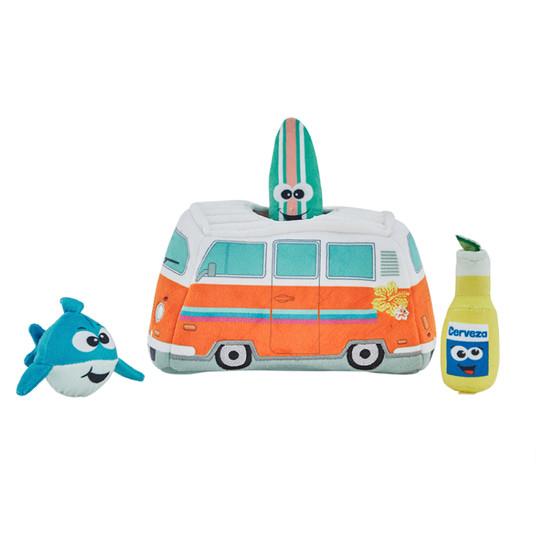 Hide A Surf Van Plush Dog Toy Puzzle, Multi