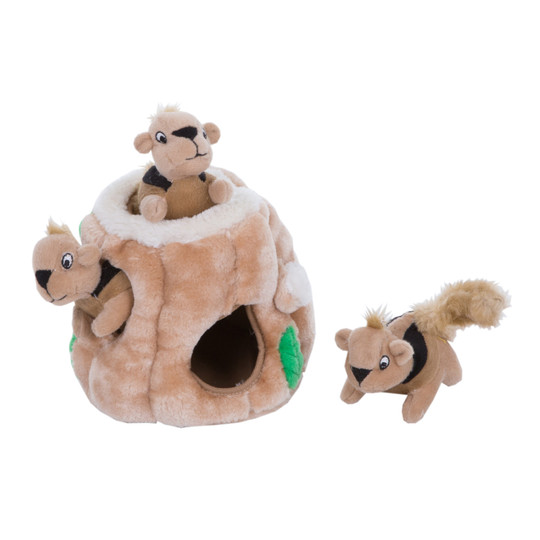 Hide A Squirrel Plush Dog Toy Puzzle, Brown, Small