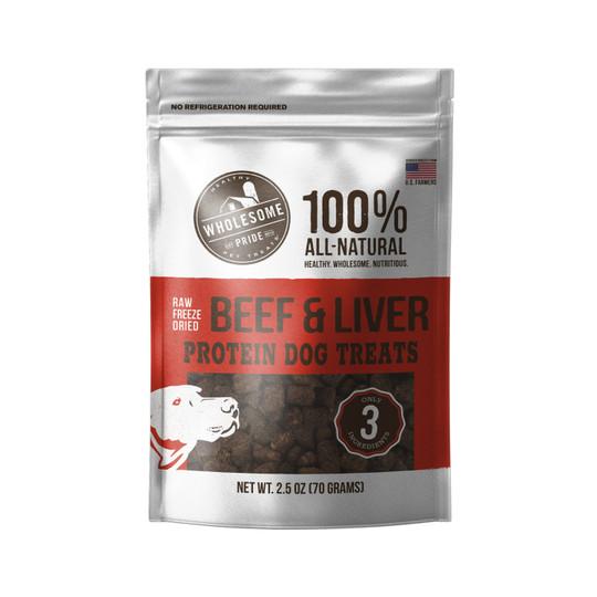 Raw Freeze Dried Beef & Liver Dog Treats, Red, 2.5 Oz