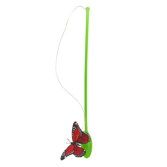 Butterfly Chase Cat Teaser Wand Toy, Green