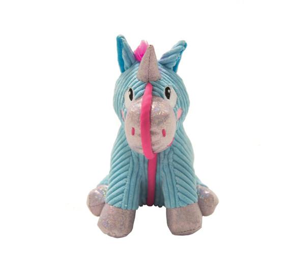 Corded Seamz Unicorn Dog Toy, Blue, Small