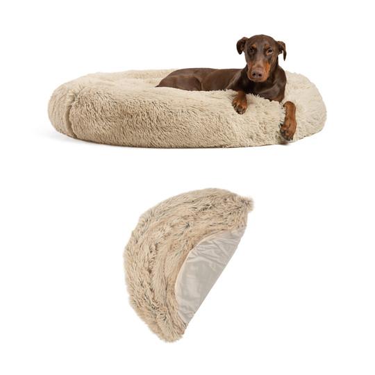 2 Piece Bundle: Donut Shag Bed, Shell Cover Dog Bundle Set, Taupe, 45X45