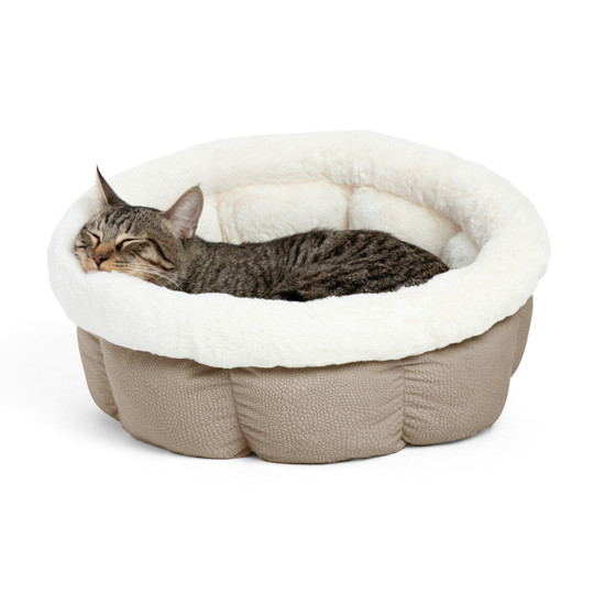 Cozy Ilan Cuddle Cup Dog and Cat Bed, Wheat, Standard