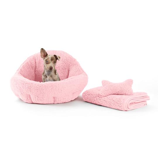 3 Piece Bundle: Deep Dish Sherpa Bed, Throw Blanket, Plush Toy Bone Dog Bundle Set, Pink, Standard