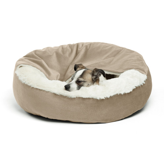 Cozy Cuddler Ilan Cat and Dog Bed, Wheat, 24X24