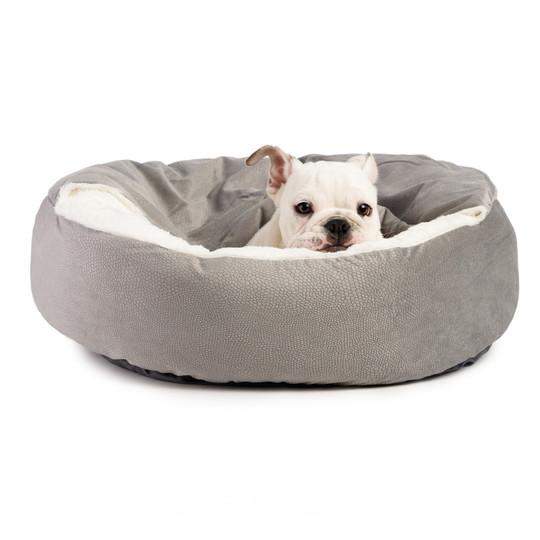 Cozy Cuddler Ilan Cat and Dog Bed, Grey, 27X27