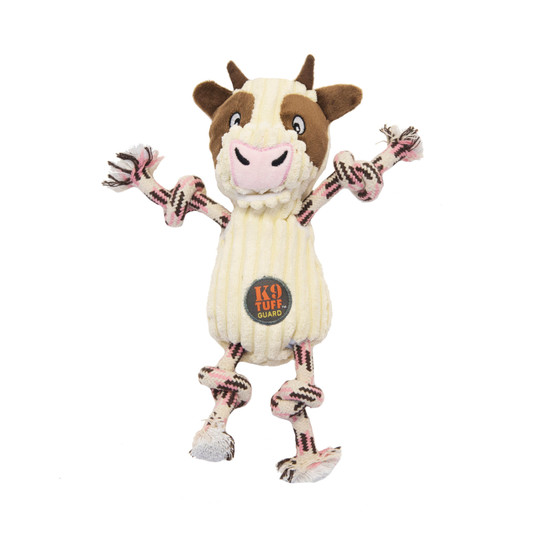 Ranch Roperz Cow Plush Dog Toy, White, Small