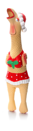 Squawkers Holiday Henrietta Latex Rubber Chicken Interactive Dog Toy, Tan, Small