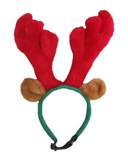 Reindeer Antlers Holiday Dog Accessory, Red, Small