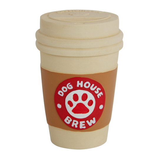 Tootiez Doghouse Brew Cup Holiday Latex Rubber Dog Toy, White, Small