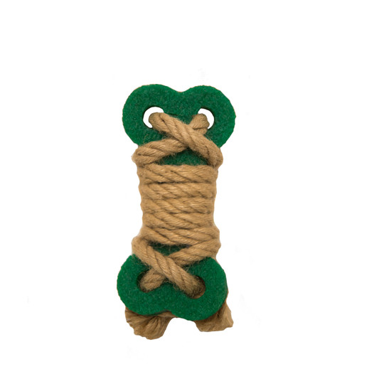 Naturals Crepe and Rope Bone Dog Toy, Green, Small
