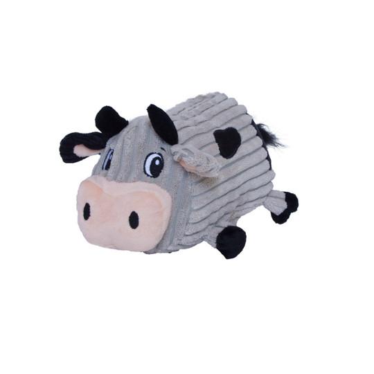 Fattiez Cow Plush Dog Toy, Grey, Medium
