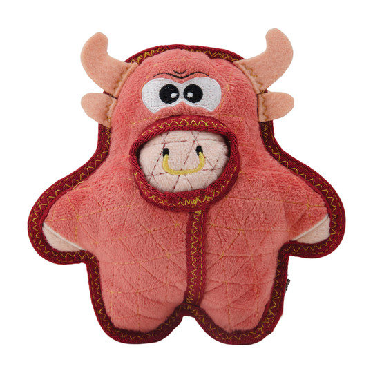 Xtreme Seamz Bull Plush Dog Toy, Pink, Medium