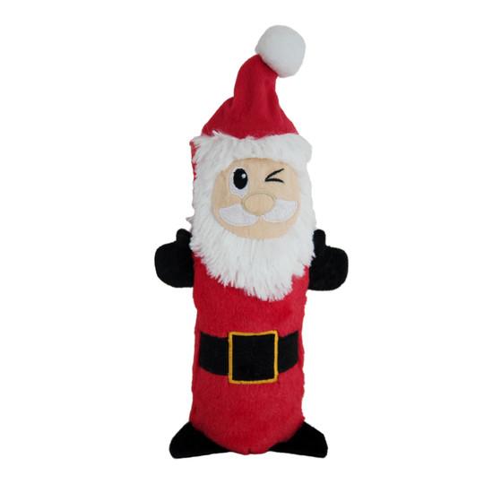 Stuffing-Free Santa Plush Dog Toy, Red, Medium