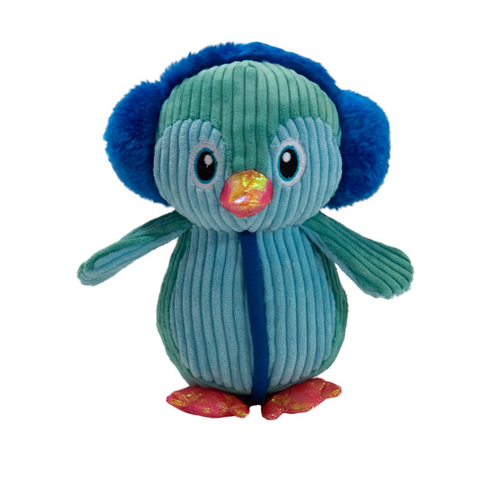 Tuffones Penguin Holiday Dog Toy, Blue, Small