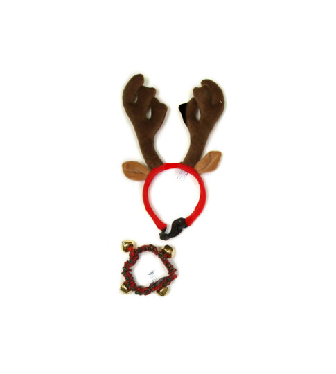 Antlers and Bell Collar Holiday Dog Accessories, Red, Large