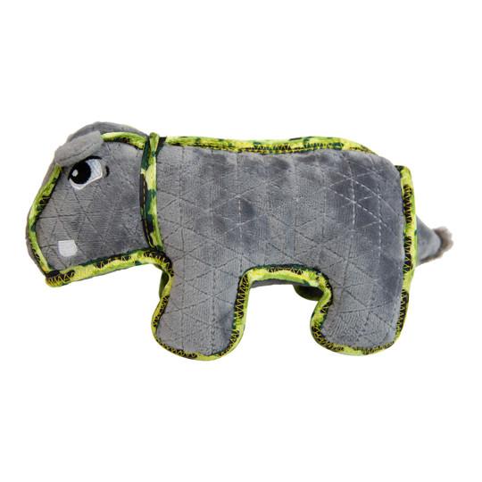 Xtreme Seamz Hippo Dog Toy, Grey, Medium