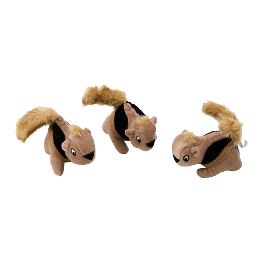 Squeakin' Squirrels Plush Replacement Dog Toys- 3 Pack, Multi
